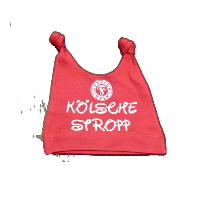 """Babymütze """"Kölsche Stropp"""" Weiss (roter Druck)"""